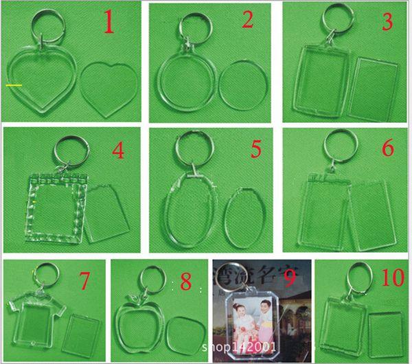 Boş Akrilik Yuvarlak Daire Fotoğraf Anahtarlık Takın Resim Kişiselleştirilmiş Anahtarlıklar Sevimli sevgilisi çift Anahtarlık Düğün favor hediye 10 tarzı