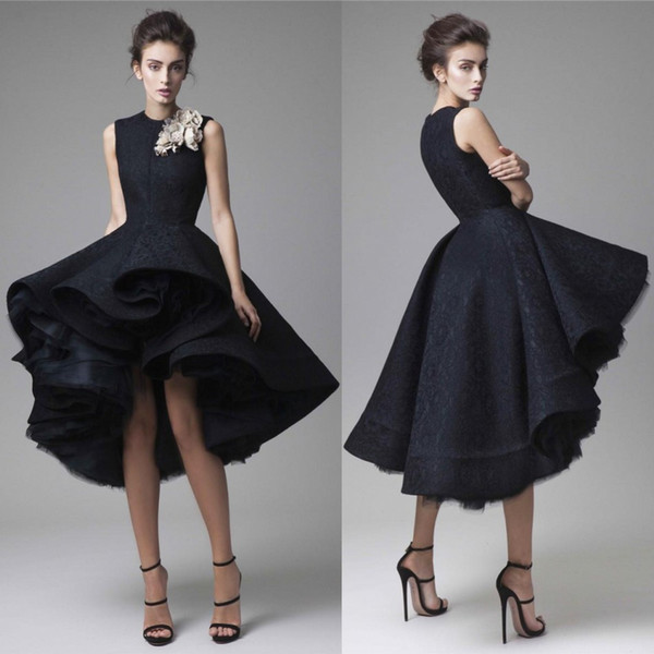 Krikor Jabotian Prom Dresses Hand Made Flower Jewel Neck Dark Navy Evening Dress Knee Length Party Gown Sleeveless Ball gown Formal Dress
