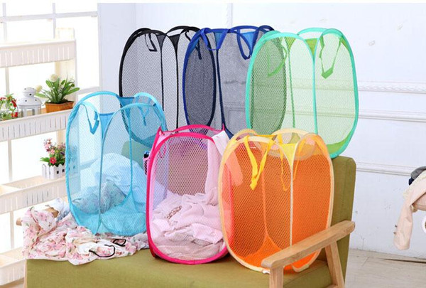 Mesh Fabric Foldable Pop Up Dirty Clothes Washing Laundry Basket Bag Bin Hamper Storage for Home Housekeeping Use Storage Baskets 2016 Style