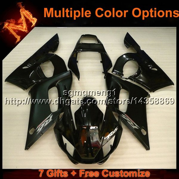 23colors+8Gifts black motorcycle cover for Yamaha YZF-R6 1998-2002 98 99 00 01 02 YZFR6 1998 1999 2000 2001 2002 ABS Plastic Fairing