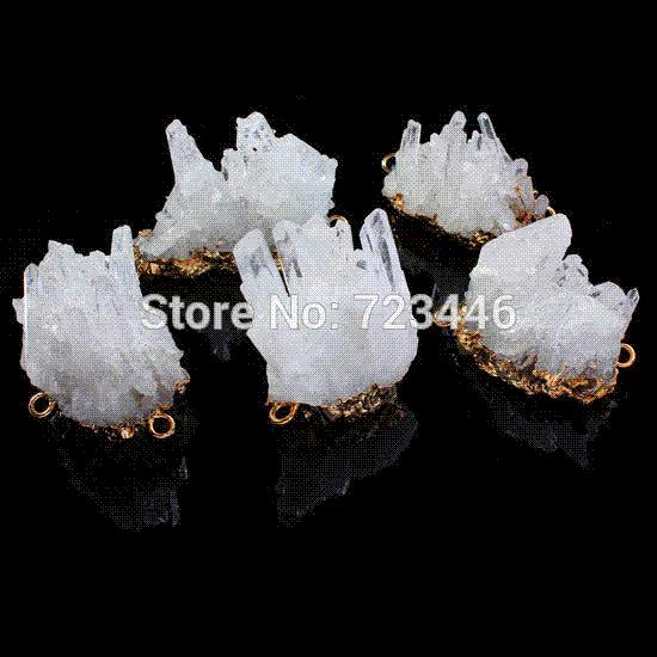 Rock Quartz Crystal Prism Geode Druzy Natural Gem Stone Gold Plated Different Necklace Bracelet Connector Fashion Jewelry 5x/lot