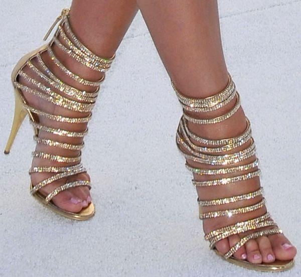Summer Leather Strappy Cut Outs Sandali da donna Summer Bling strass Encrusted Ankle High Short Bootties Zipper Thin Heel Cool Pumps