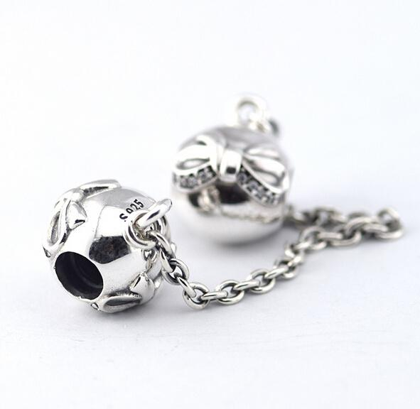 DAINTY BOW SAFETY CHAIN DIY Beads Fits Original Pandora Bracelets & Bangles Real Solid 925 Sterling Silver Not Plated