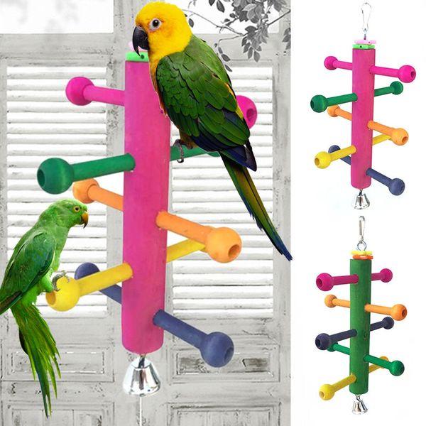 Mayitr Bird Parrot Climbing Kauen Spielen Spielzeug Rotierenden Leiter Barsch Stand Hängen Spielzeug Für Nymphensittich Parakeet Vogel Zubehör