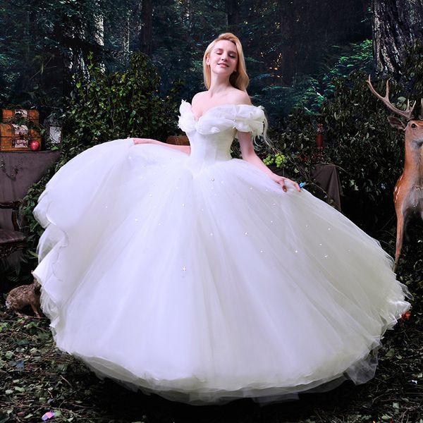 2016 New Movie Deluxe Blue Cinderella Wedding Dress Costume Bridal ...