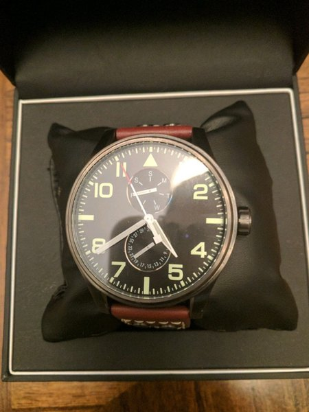 Brown Leather Strap Aeroliner Men's Wrist Watch 1513079