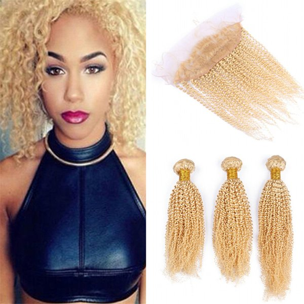 Bleach Blonde Lace Frontal Closure with Hair Bundles Pure 613 Blonde Afro Kinky Curly Virgin Brazilian Human Hair Weaves with Frontal