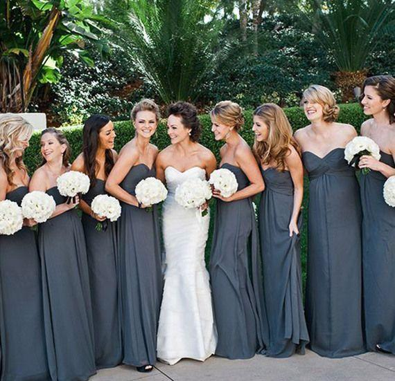 Gray Chiffon Elegant Long Bridesmaid Dresses Ruched Sweetheart Neckline A-Line Sexy Party Dress For Wedding No Sleeve Plus Size Exquisite