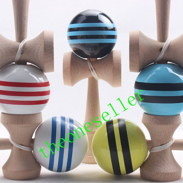 Many Colors 18.5cm*6cm PU Kendama Ball Japanese Traditional Wood Game Toy Education Gifts, 180PCS DHL free shipping , Activity Gifts toys