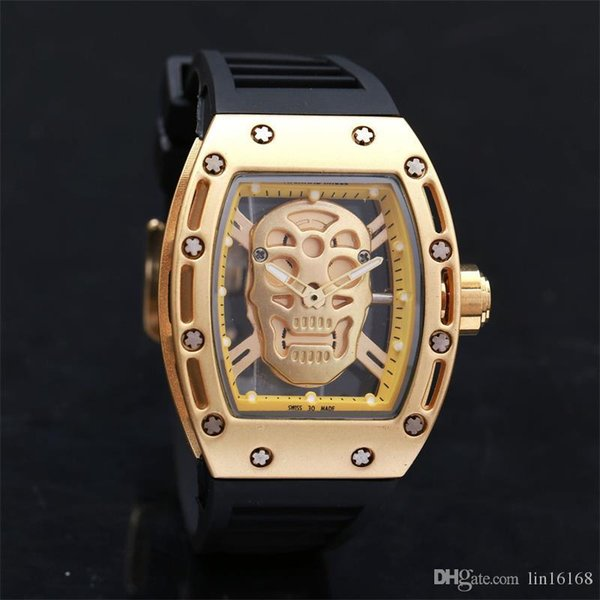Fashion Hollow Skeleton Ghost Clock dial Silica gel strap Men Quartz Watches Hour Clock Men Sport Watches Relogio Free Shipping