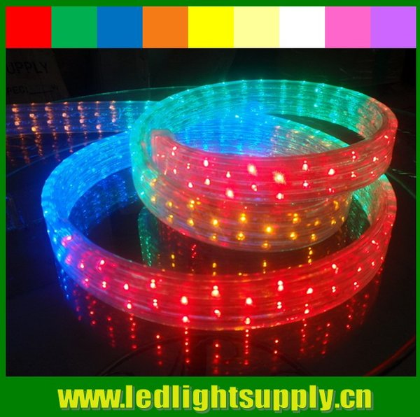 Bobina 50m 110V / 220v chasing 5 fili led corda di natale luce RGBY RGBW arcobaleno striscia nastro duralight led luce di corda 144led / M
