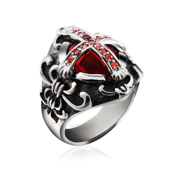 New Arrival Vintage Gothic Cross Vampire Ruby Red Gemstone Rings
