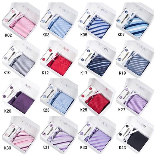 Krawatte Set Krawatte Einstecktuch Manschettenknöpfe Clip Kit Geschenkbox + Geschenktüte Perfektes Geschenk Herren Krawatten Sets Manschettenknöpfe Button