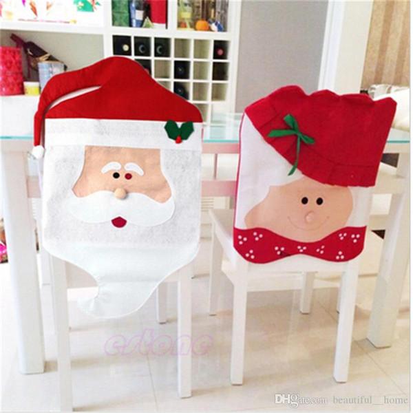 2Pcs 44cm* 74cm 44*54cm Santa Claus Hat Chair Covers Christmas Decoration Kitchen Dining Table Decor Home Party Decoration Chair sets