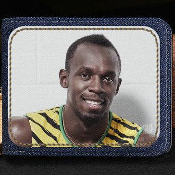 Usain Bolt wallet Run king purse Quick sport man short cash note case Money notecase Leather burse bag Card holders