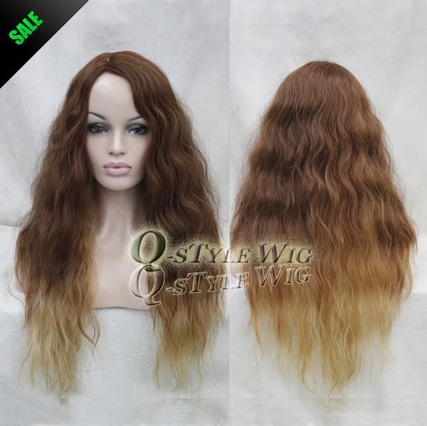 Großhandel Aaaaaa Top Qualität Kanekalon Faser Matt Highlight Synthetische Ombre Licht Kaffee Braun Farbe Ombre Zu Blonde Haare Afroamerikaner Perücke