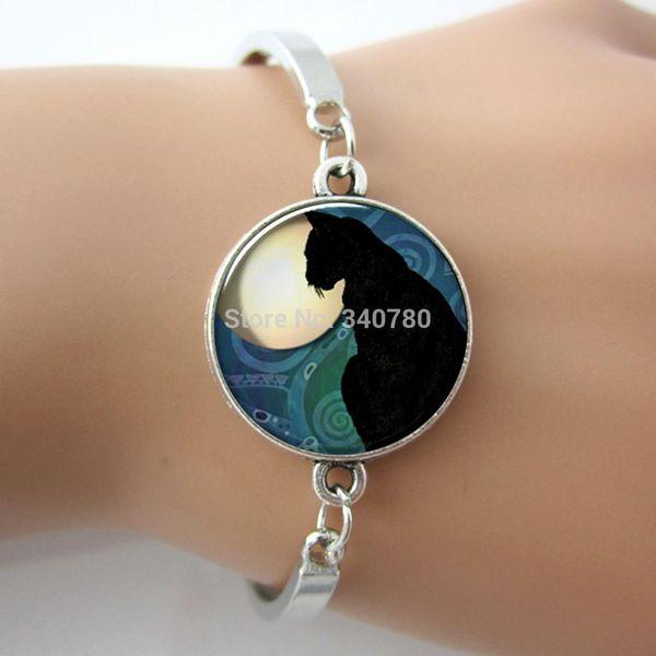 1 pc/lot Black Cat Moon art pendant,cat jewelry pendant, cat bracelet charm, cat pendant alloy sex bangle.
