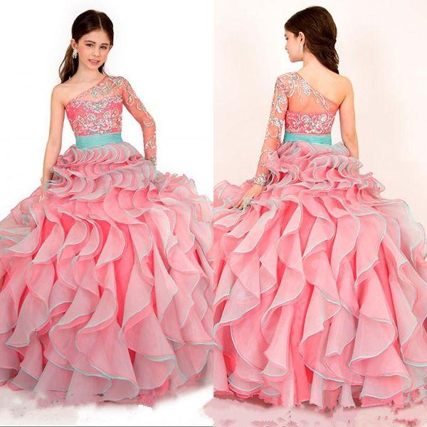 Sweet Kids Party One Shoulder Blumenmädchen Perlen Ballkleid mit Kristallen bodenlangen Kind 2015 Glitz Girl's Pageant Kleider