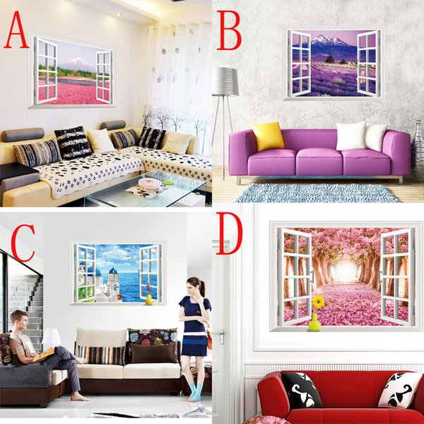 Flowers sakura Sea of Love lavender 3D window wall paper Cherry Blossom wall decor Removable Wall Sticker 60*90cm free shipping