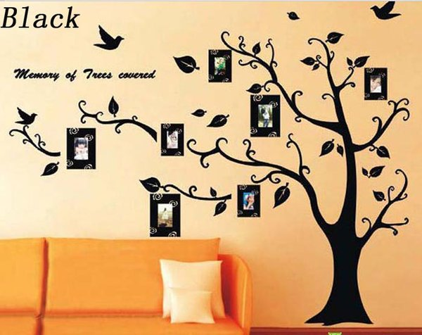Black Photo Tree Wall Stickers Photo Frame Tree Wall Decals Stickers ...