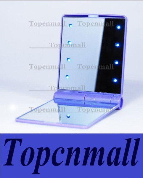 Light Up Mirror 8 Led Cosmetic Make Up Mirror 8Led Mirror Compact Mirror with Led Lights 5 Colors Portable Make Up Tool