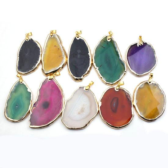 Wholesale 10 Pcs Popular Silver Plated Gold Plated Irregular Shape Multi Colors Agate Slice Geode Pendant Fashion Jewelry