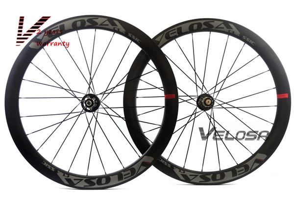 Juego de ruedas Velosa Disc 50 Road Disc Brake, 50 mm clincher / tubular, rueda de bicicleta de carretera 700C, rueda de ciclocross