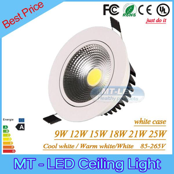top popular Dimmable 9W12W 15W 18W 21W 25W Led COB downlight cree Recessed lamp Bulbs 95-265V led light with led driver 2019