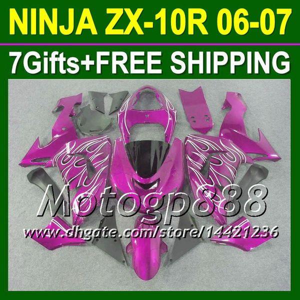 7gifts For purple white KAWASAKI 2006-2007 NINJA ZX10R 10 R ZX 10R 20P260 NUEVOS carenados ZX-10R NUEVAS Llamas 06 07 2006 2007 Envío gratis