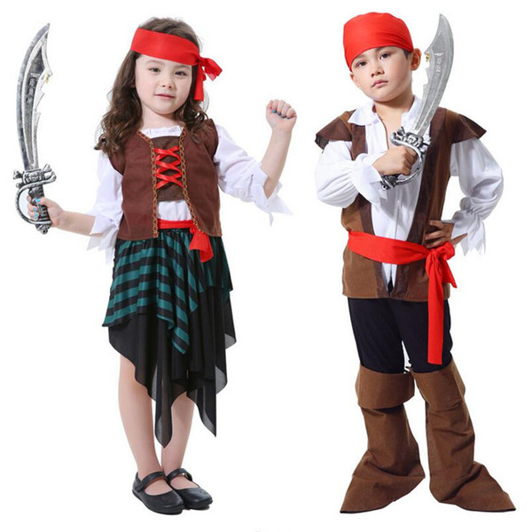 2a05562c429 Kids Caribbean Pirates Cosplay Costume Pirate Captain Clothing For Boys  Girls Halloween Party Fancy Dress Decor Vampire Costume Women Halloween ...
