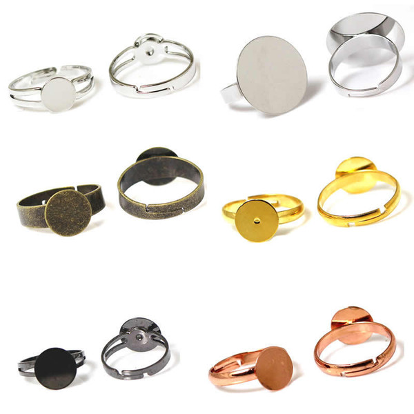 Beadsnice fashion jewelry components pad diy ring blank findings adjustable brass ring base glue on cabochon for handmade ID 32247