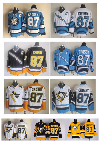 Qualité supérieure ! Hommes Maillots De Hockey Sur Glace De Penguins De Pittsburgh Pas Cher 87 Sidney Crosby Rétro Vintage Maillots De Couture CCM Ordre De Mélange!