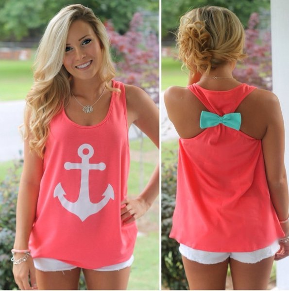 top popular FG1509 2015 summer women o neck back bow navy anchor print tank tops casual S - XL cute vest 2020