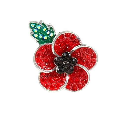 Wholesale Silver Tone Red & Black Rhinestone Crystal Diamante Red Flower Poppy Badge Pin Brooch With Leaf