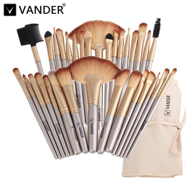 Vander Professional Soft Champagne 32pcs Makeup Brushes Set Beauty Cosmetic Real Make Up Tools Eyeshadow Blush Blending W /Bag