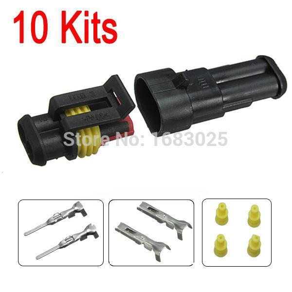 New 10sets Car Part 2 Pin Way Sealed Waterproof Electrical Wire Auto Connector Plug Set