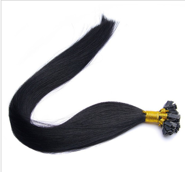 """5A- grade 1g /s 100g/pack Indian remy Italian keratin flat tip hair extensions 16""""-26"""" 1# jet black dhl free shipping"""