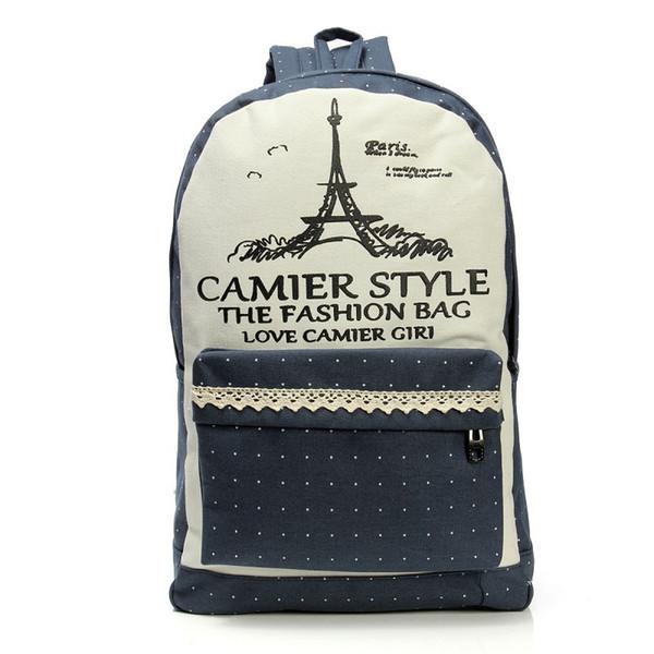 Bookbags Womens Girls Backpacks Travel Bags Eiffel Mochila Student School Bag Girl Canvas Bags Casual Travel Rucksack Korean 1pc