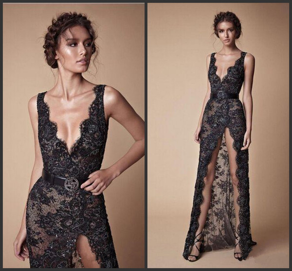 2018 New Black Lace Beaded Split Prom Pageant Dresses 2017 Modest Fashion V-neck Sexy Full length Berta Evening Occasion Dress 249