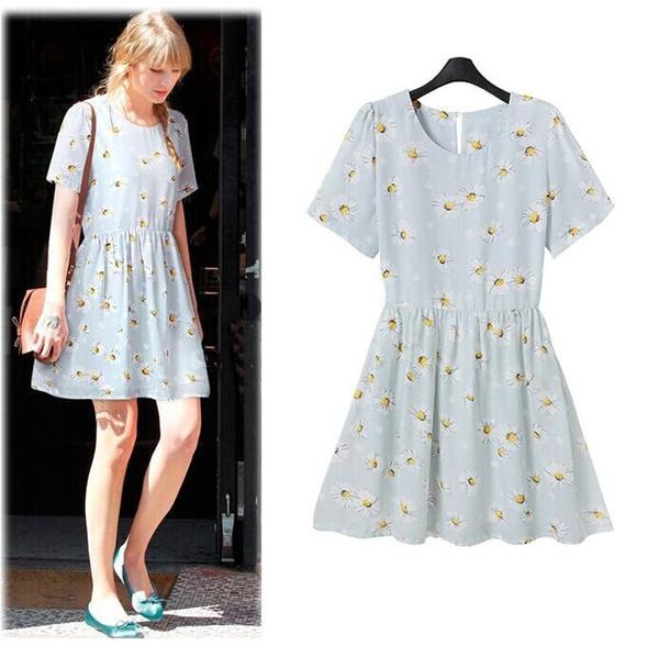 new Spring summer Clothing korean partysu elegant women dresses round neck daisy printing short sleeve fashion lavender flower dress lady