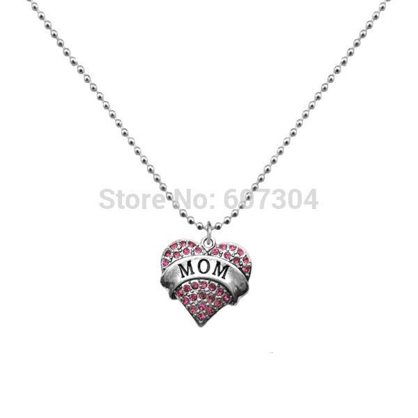Fashion Design 5Pcs/Lot Zinc Alloy Rhodium Plated Vintage Alphabet MOM Heart Women Pendant Necklace Jewelry