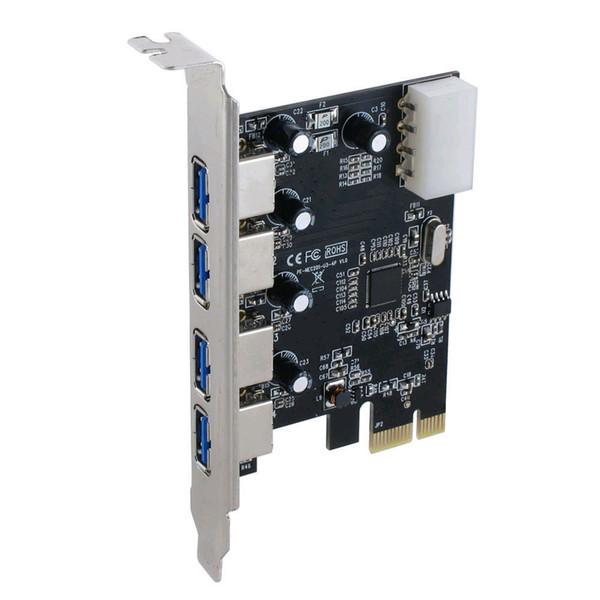 Atacado-Frete Grátis Superspeed 5Gbps 4 portas USB 3.0 Placa de Controle PCIe / PCI Express para USB3.0 Conversor Adaptador