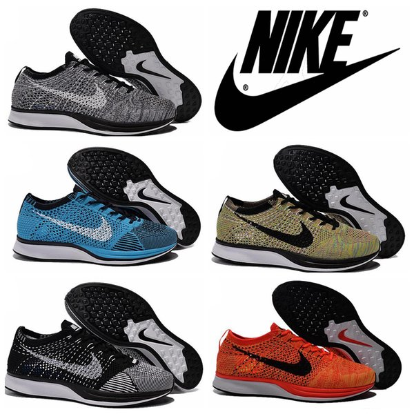 sports shoes 2f57b 0c7aa 2016 Nike Flyknit Racer Negro Blanco Kanye West de los hombres de los  zapatos corrientes de