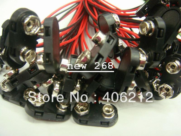 hot wholesale 9V SNAP T shape battery connector with plastic case and 150mm wires ,2000pcs/lot