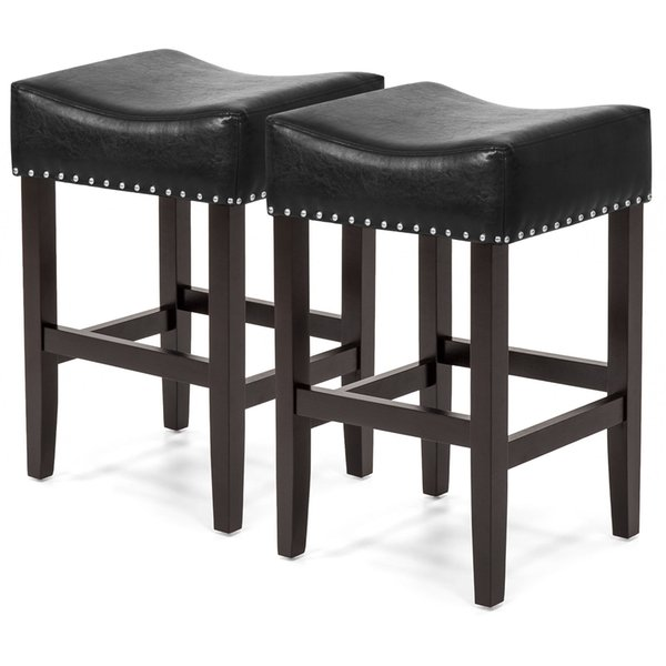 Set Of 2 Backless Leather Counter Stools W/ Silver Studs- Black