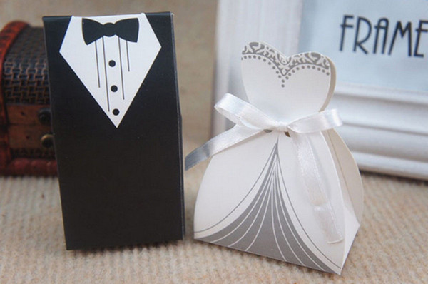 top popular Free Shipping+New Arrival bride and groom box wedding boxes favour boxes wedding favors,50pairs=100pcs lot 2020