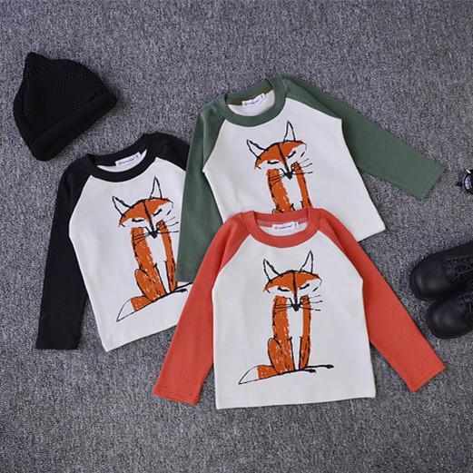 best selling baby girls boys spring autumn bobochoses ins fox T-shirt 2016 kids cartoon O-neck long sleeve cartoon fox shirt black orange green choose