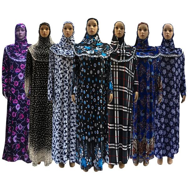 top popular Islamic Women clothing Muslim Printing Elasticity Abaya Middle East EID Long Sleeve Cheap's Prayer Clothing Abaya 2019