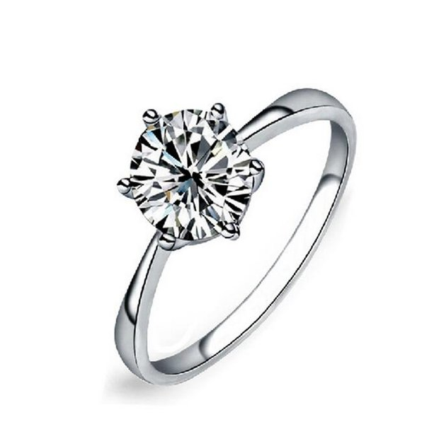 best selling Never fading 1carat 6claws large simulated diamond Rings women 18K white gold filled 925 silver Engagement alliance USA size CZ wedding Ring