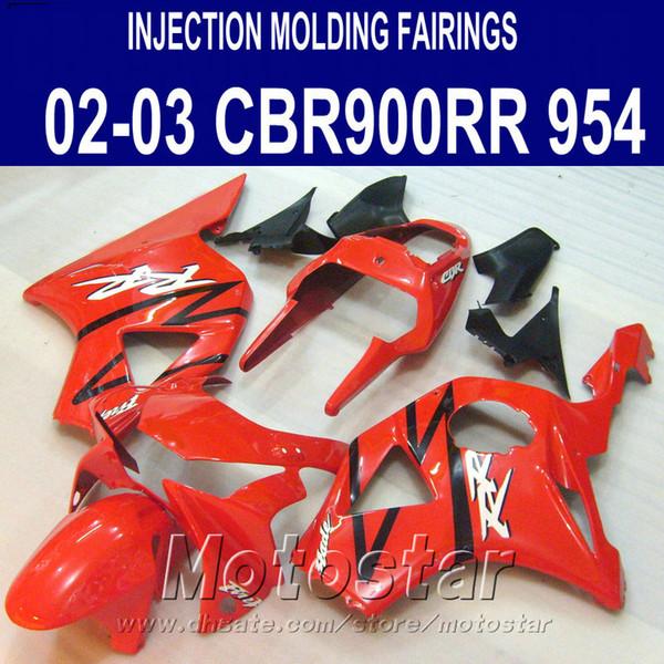 Injection molding for Honda cbr900rr fairings 954 2002 2003 red black motobike CBR900 954RR ABS fairing kit CBR954 02 03 YR19